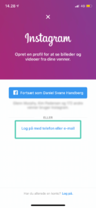 Log på Instagram med e-mail